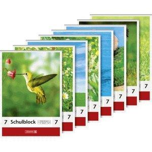 Brunnen 10 x Schulblock A5 80g/qm 50 Blatt Lineatur 7 50 Blatt Motive Sortiert