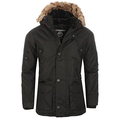 Herren-winter-jacken (Geographical Norway Abiosaure Herren Winter Jacke Parka Parker Schwarz Gr. L)