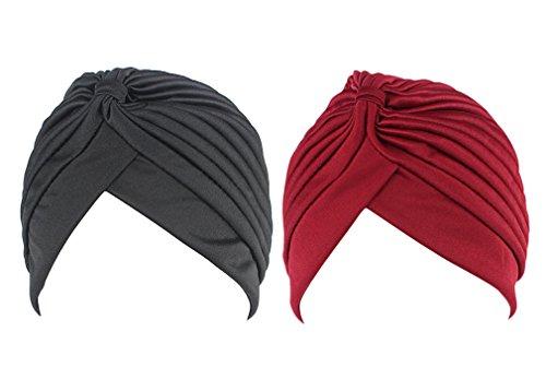 2pcs Frauen muslimische Kopftuch Indische Turban-Hüte Turbanmütze Kopfbedeckung Schlafmütze für Haarverlust, Chemo, Krebs Cap Chemotherapie,Onesize