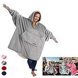 Upupto Comfy Sherpa Wearable Robe couvertures Polaire en Peluche à Manches Super Doux Chaud Confortable Grande Sweat à Capuche Robes de Chambre Cadeaux de Noël pour Adulte Pull,Gray