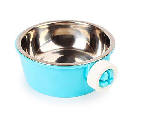 Monbedos 2in 1Edelstahl Pet Aufhängen Schüssel mit Bolt Halterung Edelstahl Hund Wassernapf Futternapf für Käfig, blau, 11.5*5cm