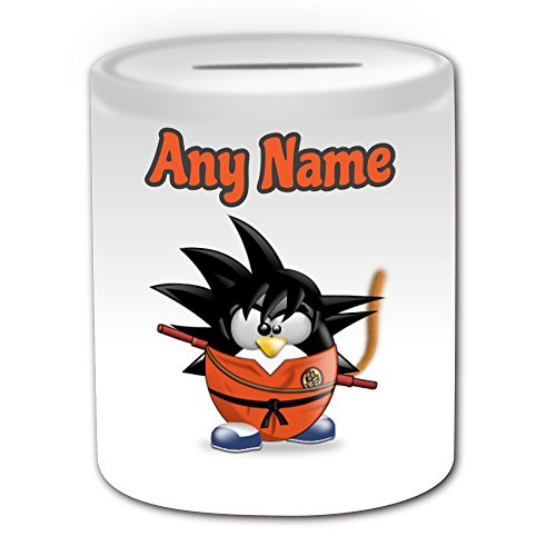 Disney Kostüme Charakter Cartoon (Personalisiertes Geschenk – Son Goku Spardose (Pinguin Cartoon Charakter Kostüm Design Thema, weiß) – alle Nachricht/Name auf Ihre einzigartige – Silly Funny Neuheit kawaii Humor Anime Animation Film Movie Game Roman Art Clipart Episode TV Fernseher)