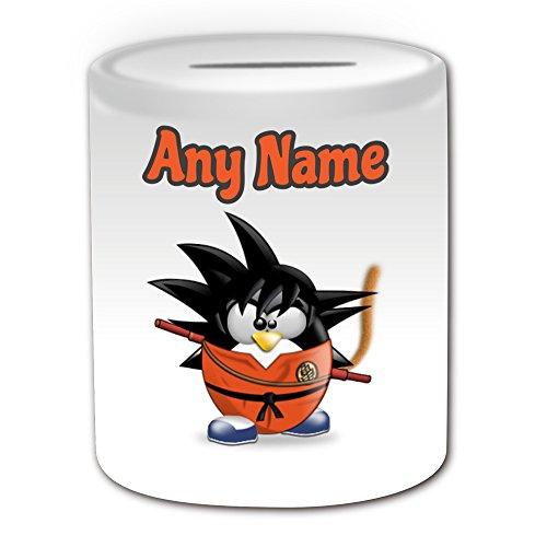 Cartoon Kostüme Charakter Disney (Personalisiertes Geschenk–Son Goku Spardose (Pinguin Cartoon Charakter Kostüm Design Thema, weiß)–alle Nachricht/Name auf Ihre einzigartige–Silly Funny Neuheit kawaii Humor Anime Animation Film Movie Game Roman Art Clipart Episode TV Fernseher)