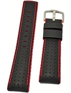 HIRSCH Performance   Ersatzband Uhrenarmband aus Leder/Kautschuk schwarz/rot Segeltuchoptik 30956S, Stegbreite...