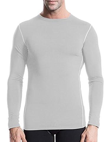 Jimmy-Thermique-Men'S T-Shirt de Sport à manches longues de course à pied pour homme Multicolore S/M/L/XL/XXL - Blanc - Large