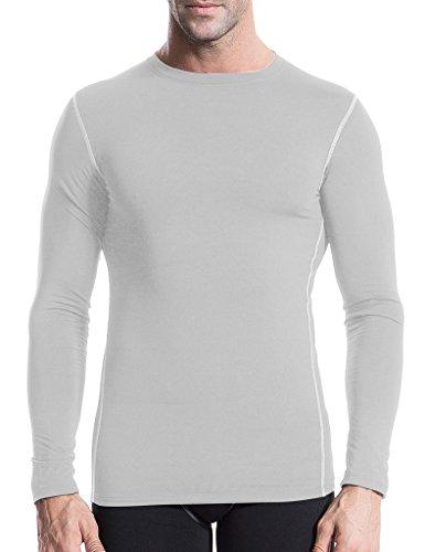 Jimmy Design Herren Langarm Kompression Shirt Sport Top Gr. XXL, 1021-WHITE (Layer Lightweight Base Unterwäsche)