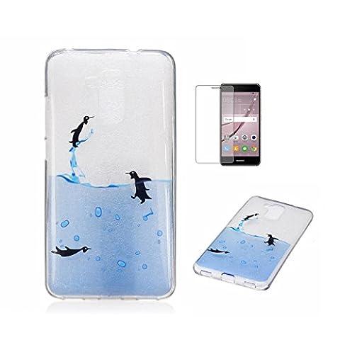 Für Huawei Honor 5C Hülle [mit gehärtetem Glas als Display Schutz], Fatcatparadise(TM) kratzfeste transparente Soft-Silikon-Schutzhülle, buntes nettes Muster ultra dünnes flexibles rutschfestes Design TPU schützender [Kristallklar] Schalen-stoßdämpfende Hülle Perfekte Passform für Huawei Honor 5C