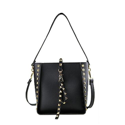 QGSDR Frauen Leder Handtaschen Kleine Rivet Bucket Bag Schulter Messenger Bags Black (Tote Bag Nylon Kurze)
