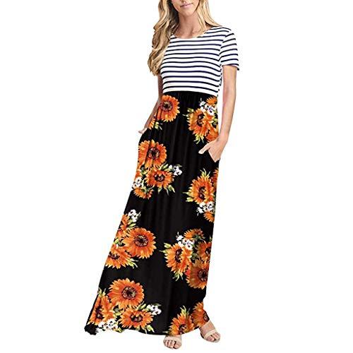 Floweworld Damen-Sommer-beiläufiges Loses gestreiftes und Blumenlanges Kleid Kurzarm-Taschen-Maxi-Kleid -