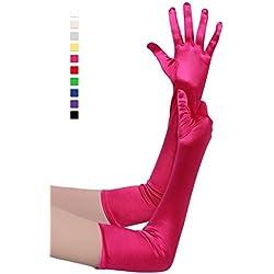 BABEYOND clásico largo Opera Pageant partido de los años 20 guantes de satén estirable tamaño adulto codo longitud de la muñeca 52 cm (Largo Liso 52cm / Rosa Rojo)