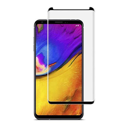 LG V35 ThinQ Bildschirmschutzfolie, Gebogene Folie, 2 Stück, aus gehärtetem Glas, HD, klar, blasenfrei, 9H Härte, gehärtetes Glas, Kratzfest, Anti-Fingerabdruck, Schwarz