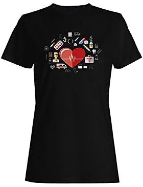 Nuevo Fondo De Elementos Médicos camiseta de las mujeres h392f