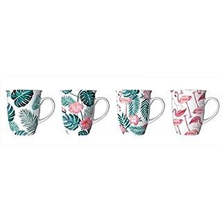 ALANNAHS ACCESSORIES Set Of 4 Bone China Tea Coffee Drinking Mugs Cups Flamingo & Leaf