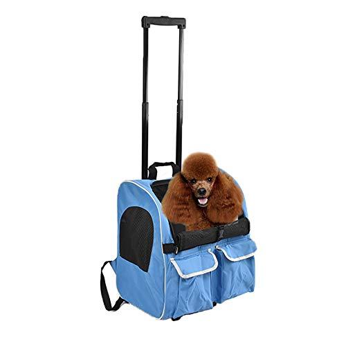 LEMKA Haustier-Tragetasche mit Rollen, 4-in-1, Haustier-Reisetasche, für Haustiere im Innen- und Außenbereich, hellblau