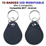 Lot de 10 Badges RFID 13.56Mhz | Programmable MCT Android | UID modifiable | Puce CUID | T4U®