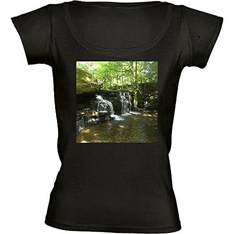 Camiseta Cuello Redondo para Mujer - Paradise Falls, Nueva York by Cadellin