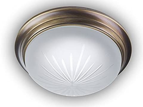 Ceiling light round Frosted Cut Glass Decorative Ring Antique Brass Vaulted Diameter 22cm