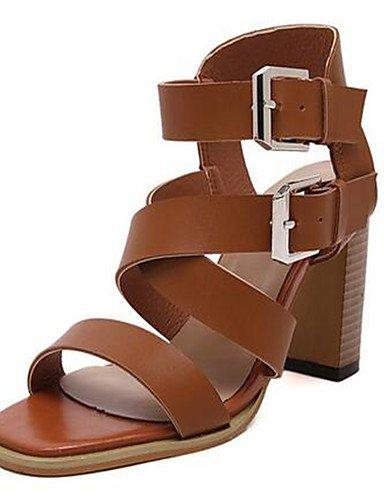 WSS 2016 Chaussures Femme-Décontracté-Noir / Marron-Gros Talon-Talons-Chaussures à Talons-Polyuréthane brown-us8 / eu39 / uk6 / cn39