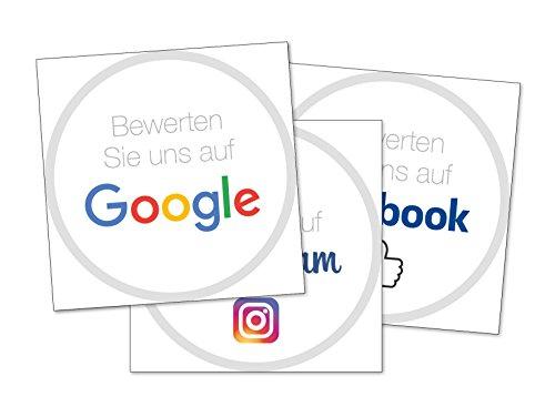 Social Media Sticker Set - Bewerten Sie uns auf Google Stickers, Facebook Stickers und Instagram Stickers