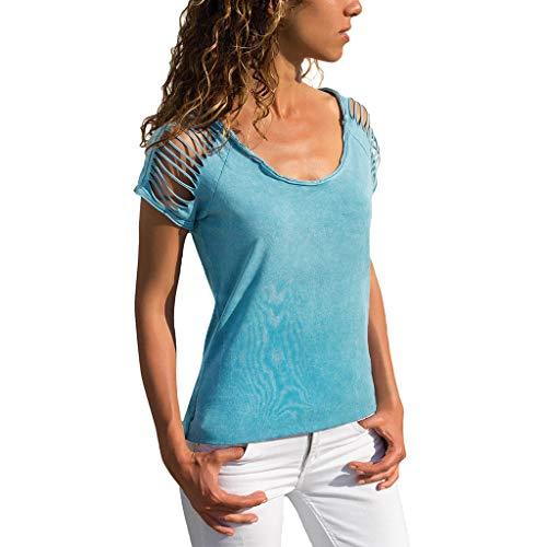 LeeMon Kleid Damen Besonderes Kurze Ärmel, LeeMon Womens Sexy O-Neck Cut Out Kurzärmeliges T-Shirt mit Fester Bluse
