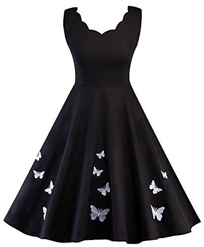 zoulouyou Damen Kleider Retro Elegante Cocktailkeider A Linie Schmetterlings-Druck 50er Jahre Hepburn Ärmellos Abendkleid Swing Kleider Schwarz