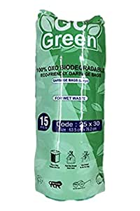 NIHAAN'S GO GREEN OXO Biodegradable Garbage Bags Small - Green (48 cm x 56 cm) (90 Bag)