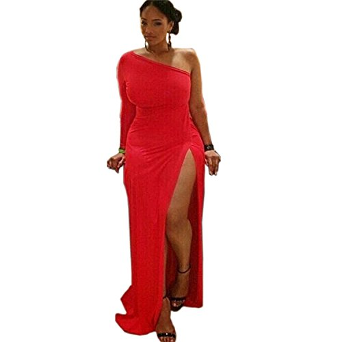 Robe rouge à une épaule sexy pour femme Lay Out Fork Club Robe une longueur red
