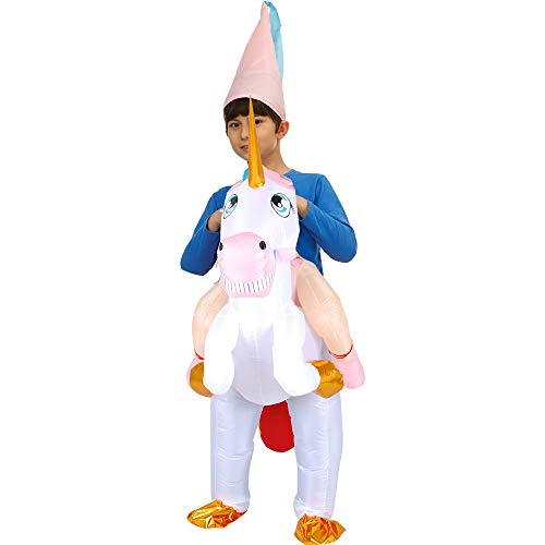 LOVEPET Einhorn Aufblasbare Kleidung Halloween Weihnachten Kind-Kind-Aktivitäten Tierhalterung Huckepack Kleidung Kinderleistungsrequisiten Child
