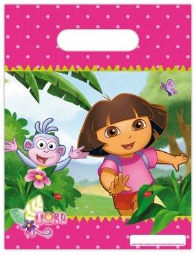 6 Partytüten * DORA * für Party und Geburtstag // Nickelodeon // Kindergeburtstag Kinder Feier Fete Set Mädchen Rosa Pink Tüten Geschenktüten Mitgebsel-Tüten