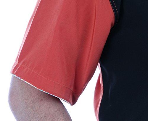 Designerhemd in Schwarz/terakotta, für Herren BESTE QUALITÄT, HK Mandel Freizeithemd Kurzarm Normal Nicht Tailliert, 1177K9 Schwarz/Terracotta
