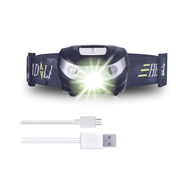 Lampe Frontale USB Rechargeable avec Sensor Switch, imperméable Led Headlamp