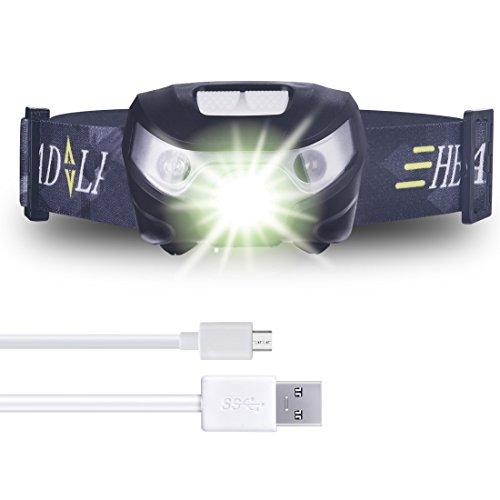 Anbero Sehr Hell USB Wiederaufladbare LED Kopflampe Stirnlampe, Sport Outdoor Joggen Laufen Kinder Stirnlampen Bequem Leicht Wasserdichte Taschenlampe mit Geste Sensor Schalter