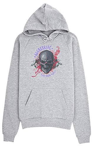 idcommerce Aggressive Skull Flames Artwork Kapuzenpulli für Damen Medium Flaming Skull Sweatshirt
