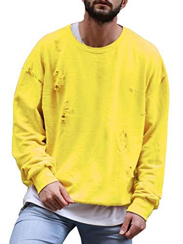 ORANDESIGNE Herren Sport Fitness Training Crewneck Täglichen Modern Sweatshirt Langarmshirt Pullover Warm Basic Gelb Medium - Strand Crewneck Sweatshirt