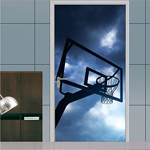 Namefeng Sport Basketball Tür Aufkleber Tapete Wandtattoo Poster Kinder Jungen Schlafzimmer Glas Holz Tor Tür Dekoration 77X200 cm