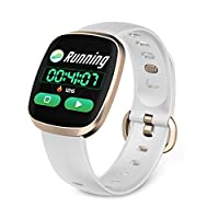 JumpXL GT103 Smart Watch Heart Rate Monitor Fitness Tracker Control Music Sport Watch Full Screen Touch for iOS Android (Gold)
