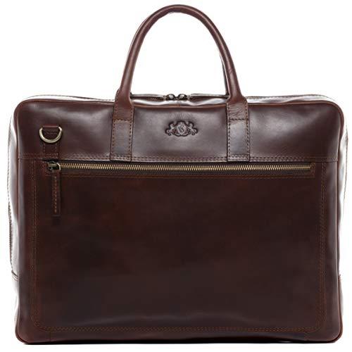 SID & VAIN Laptoptasche echt Leder Dixon groß Businesstasche 15 Zoll Laptop Umhängetasche Aktentasche braun -