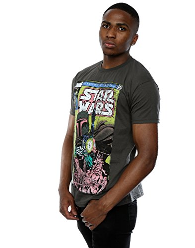 Star Wars Herren Boba Fett Comic T-Shirt Holzkohle