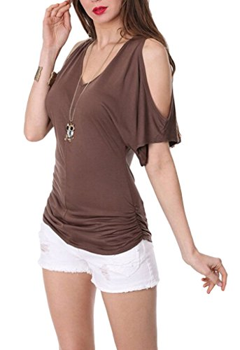 Smile YKK Chemise Epaule Nue Femme Sexy Col V T-shirt Blouse Top Haut Manches Courtes Eté Mode Marron