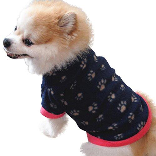 wyxlink Fashion Pet Hund Katze Villus Warm Hund Fußabdrücke Kleidung Puppy Doggy Apparel Kleidung (Footprints Design T-shirt)