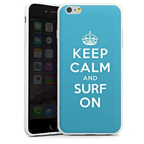 Apple iPhone X Silikon Hülle Case Schutzhülle Keep Calm surfen Urlaub Silikon Case weiß