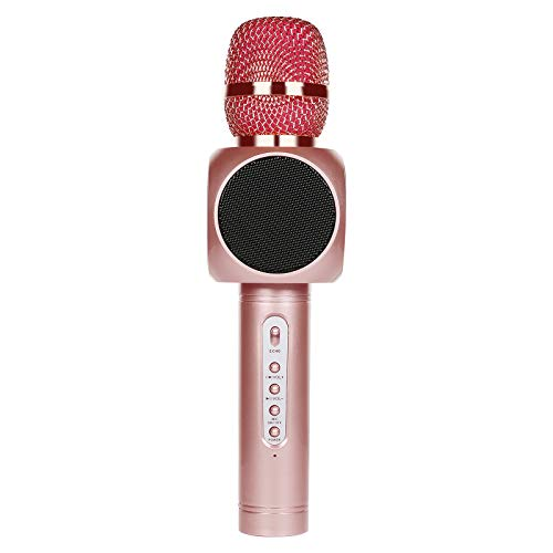 Tragbarer Karaoke Spieler 2600 mAh Drahtloses Mikrofon mit Bluetooth Lautsprecher für die Aufnahme von Gesang,Sprache,Party,Podcast,KTV,kompatibel mit iPhone/iPad/Android/Smartphone/PC (Rosegold)