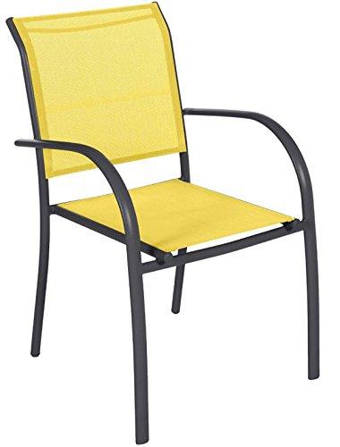 Fauteuil de jardin en aluminium coloris citron - Dim : L56 x l65 x H88 cm -PEGANE-