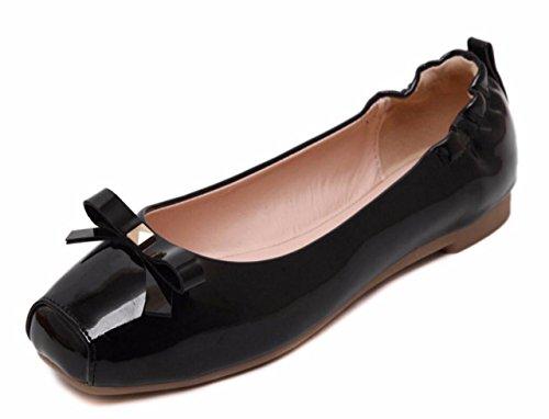 CAMSSOO ,  Damen Sneaker Low-Tops , schwarz - Black Patent PU - Größe: 37.5 (Mary Patent Jane Black)