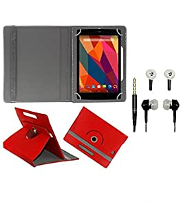 Gadget Decor (TM) PU Leather Rotating 360° Flip Case Cover With Stand For Asus ZenPad 7.0 + Free Handsfree (Without Mic) - Red