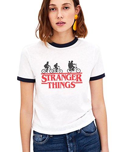 Shirt Ringer Tee Stranger Things Camiseta Mejores Amigas Best Friend Impresión T-Shirt Manga Corta1 Pieza Retro Regalo Camisa Cuello Redondo Verano para Mujer(Blanco,S)