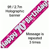 9ft Pink & Silver Hearts Holographic Happy 70th Birthday Banner (2.7m length)