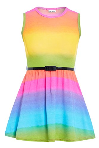 GUBA® Mädchen Skaterkleid Kleid Gr. 7-8 Jahre, Rainbow Skater Dress