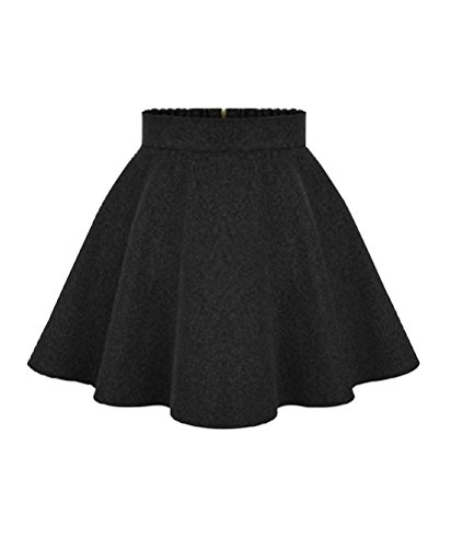 YoungSoul Gonne corte a vita alta svasata eleganti donna gonna di moda plissettata gonne a ruota autunno invernali Nero Dimensioni etichetta XL
