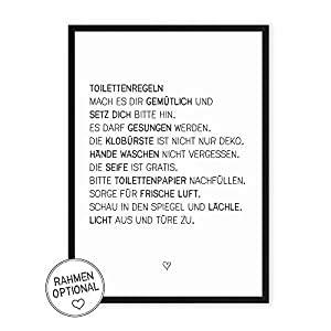 Wunderpixel® Kunstdruck Toilettenregeln - auf wunderbarem Hahnemühle Papier DIN A4 | ohne Rahmen- schwarz-weißer FineArt-Print Poster Wand-Dekoration Büro Wohnung/Geschenk-Idee - witzige Klo-Ordnung